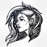 Face of a sexy young grunge punk girl with stars. Face of a sexy young grunge punk girl with stars in her hair. Female portrait in line art tattoo style with Royalty Free Stock Photo