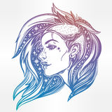 Face of a sexy young grunge punk girl with stars. Face of a sexy young grunge punk girl with stars in her hair. Female portrait in line art tattoo style with Stock Photography