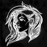 Face of a sexy young grunge punk girl with stars. Face of a sexy young grunge punk girl with stars in her hair. Female portrait in line art tattoo style with Stock Images