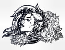 Face of a sexy young punk girl with stars, roses. Face of a sexy young grunge punk girl with stars in her hair with roses. Female portrait in line art tattoo Royalty Free Stock Photography
