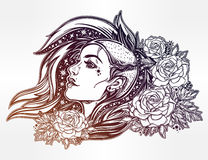Face of a sexy young punk girl with stars, roses. Face of a sexy young grunge punk girl with stars in her hair with roses. Female portrait in line art tattoo Stock Photos