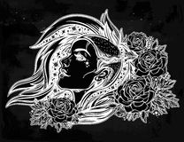 Face of a sexy young punk girl with stars, roses. Face of a sexy young grunge punk girl with stars in her hair with roses. Female portrait in line art tattoo Royalty Free Stock Image