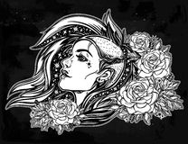 Face of a sexy young punk girl with stars, roses. Face of a sexy young grunge punk girl with stars in her hair with roses. Female portrait in line art tattoo Royalty Free Stock Photos
