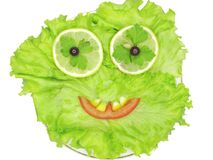 Face shape on lettuce vegetable. Face made of vegetable on lettuce isolated on white royalty free stock photography