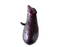 Face shaped Eggplant on white background Royalty Free Stock Photos