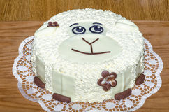 Face sheep on the cake Stock Photo