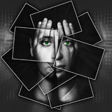 Face shines through hands, face is divided into many parts by cards , double exposure Stock Photos