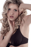Face shot of a pretty blonde in bikini Stock Images