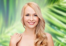 Face and shoulders of happy woman with long hair Stock Photography