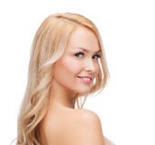 Face and shouldes of happy woman with long hair Stock Photo