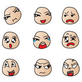 Face showing different emotions. Royalty Free Stock Images