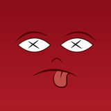 Face Sick Red. Large red face with x eyes Royalty Free Stock Photos
