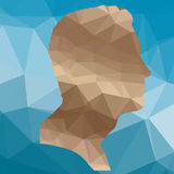Face silhouette. Low poly face silhouette man on blue background Stock Photos