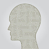 Face silhouette with maze inside. Stock Image