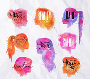Face silhouettes color Royalty Free Stock Images