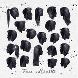 Face silhouettes ink Royalty Free Stock Photos
