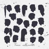 Face silhouettes white Stock Photo