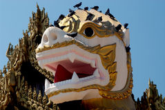 Face of Singha is white lion guardians . Stock Image