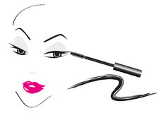 Face Sketch With Make Up Royalty Free Stock Image