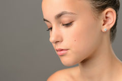 Face skin beauty teenage girl close-up Stock Photos