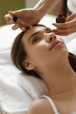 Face Skin Care. Woman Receiving Serum Treatment In Beauty Salon Stock Photography
