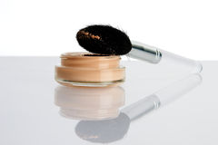 Face skin powder and brush Royalty Free Stock Photo