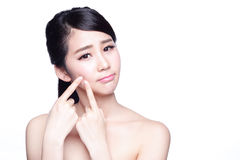 Face Skin Problem. Young woman unhappy touch her skin isolated, concept for skin care, asian Stock Images