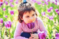 Face and skincare. allergy to flower. Summer girl fashion. Happy childhood. Little girl in sunny spring. Small child royalty free stock photography