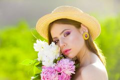 Face and skincare. Travel in summer. Summer girl with long hair. Woman with fashion makeup. Spring woman. Springtime and stock image
