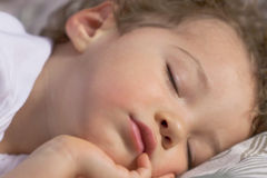 Face of a sleeping toddler. Little boy fell asleep on the sofa Royalty Free Stock Photo