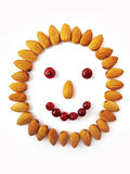 Face and smile  from nuts and berries. The person from nuts and berries. Smiley Royalty Free Stock Photos