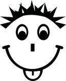 Face with smile tongue and crazy haircut. Vector Stock Photo