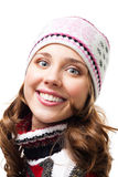 Face of smile woman wear winter hat Royalty Free Stock Photo
