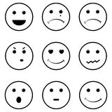 Face smiles set. Vector smiles set of 9 different species Stock Photo