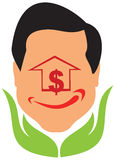 Face smiley sign and dollar icon with hand Royalty Free Stock Images
