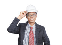 Face of smiling engineer on white Stock Photo