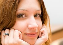 Face of smiling pretty brunette Royalty Free Stock Photography