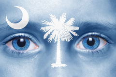 Face with south carolina state flag Stock Images