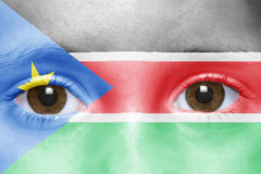 Face with south sudan flag Royalty Free Stock Image
