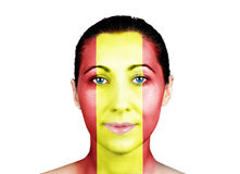 Face with the Spanish flag Stock Photo