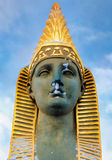 The face of the sphinx on The Egyptian bridge in Saint Petersburg. Stock Photos