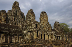 Face stone of ancient Bayon Temple in Angkor Wat, Siem Reap Stock Photo