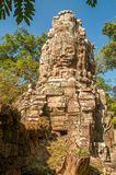 Face in Stone. In Angkor Complex Royalty Free Stock Photography
