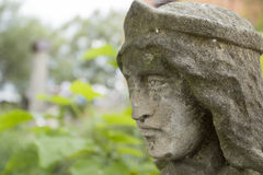Face stone sculpture monk. In a historic complex Radomishl Zhytomyr Oblast, Ukraine, summer 2014 Stock Photo