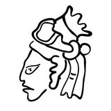 Face in style of Maya Indians, vector illustration Royalty Free Stock Photography
