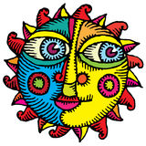 Face of the sun engraved color Royalty Free Stock Photography