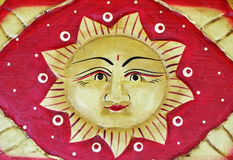 Face the sun, woodcut Royalty Free Stock Images