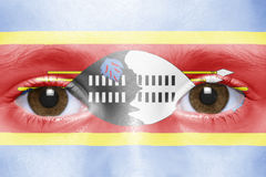 Face with swaziland flag Royalty Free Stock Photos