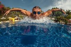 Man breath while swim Royalty Free Stock Image