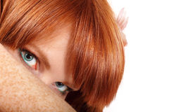 Face teen girl beautiful freckles redheaded. Closeup isolated on white background stock images